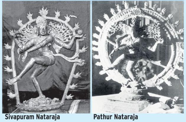 Two antique sculptures of Nataraja recently recovered in Jaipur