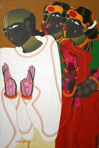 T. Vaikuntam, Untitled, Acrylic on canvas, 35 x 23 in