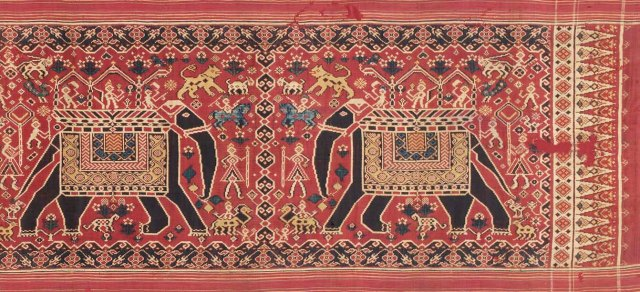 The elephant patolu from Gujarat was among the most prized textiles exported to South-East Asia. (TAPI COLLECTION)