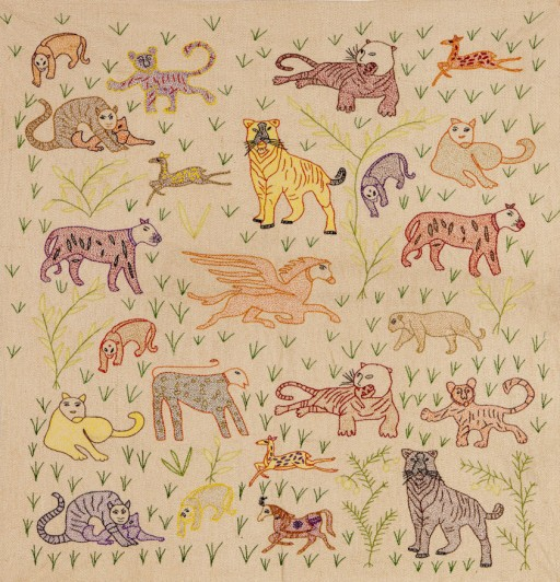 The Hunter and the Hunted by Archana Kumari An embroidered cotton panel with Sujuni embroidery