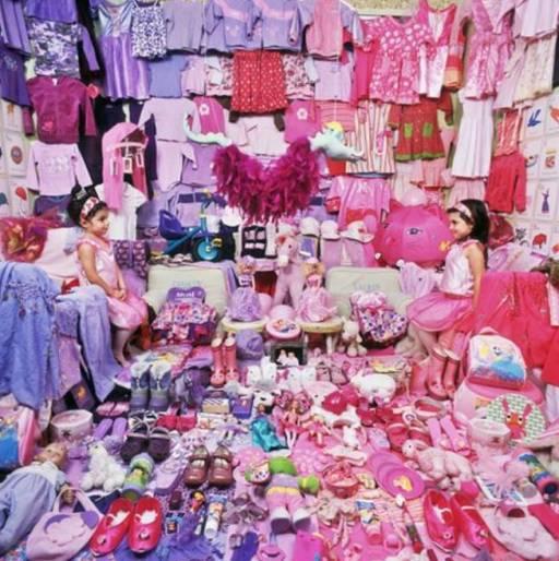 JeongMee Yoon The Pink Project II - Lauren & Carolyn and their Pink & Purple things