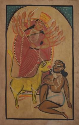 Mahishasuramardini, Uttam Chitrakar. Image Credit: https://www.saffronart.com/TheStory/ItemV2.aspx?iid=35132
