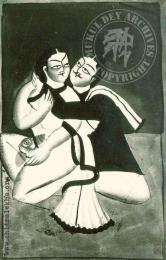 Lovers; Early 20th Century Kalighat Pata Painting. Image Credit: Mukul Dey Archives http://www.chitralekha.org/articles/mukul-dey/drawings-and-paintings-kalighat#