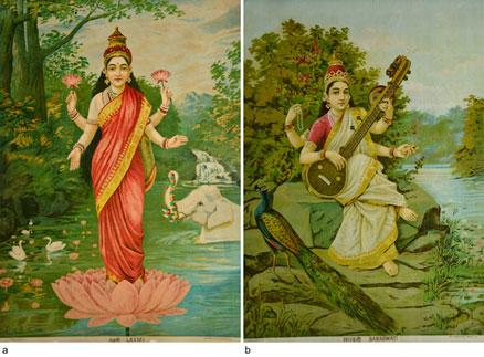 Raja Ravi Varma Lakshmi and Saraswati