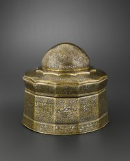 Hughes Dubois/Musée du LouvreA silver and gold inlaid casket, Iran, 14th-century