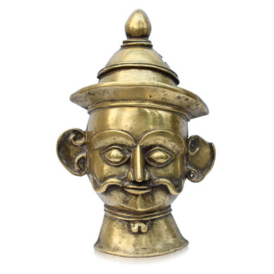 Lot 18, Khandoba Mask, Brass, 20th century, Maharashtra/ Karnataka