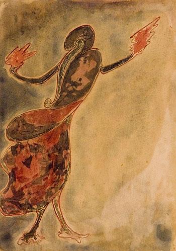 "Rabindranath Tagore, ""Dancing Woman,"" ca. 1910Image credit: http://ngmaindia.gov.in"