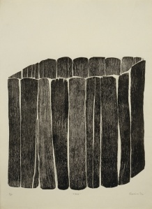 Zarina Hashmi, Cage, 1970. Relief print from collaged wood blocks.   Printed by the artist. Image credit: Whitney Museum of American Art, New York