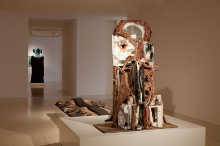 Installation shot: Huma Bhabha: Unnatural Histories at MoMA PS1