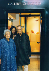 Khorshed, Shireen and Kekoo Gandhy outside Gallery Chemould, Mumbai. Photo: Courtesy Chemould Prescott Road, Mumbai