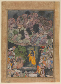 """Krishna Holds Up Mount Govardhan to Shelter the Villagers of Braj."" Folio from a Harivamsa (The Legend of Hari (Krishna)), ca. 1590–95. Ink, opaque watercolor, and gold on paper, 11 3/8 x 7 7/8 inches. (28.9 x 20 cm). The Metropolitan Museum of Art, Purchase, Edward C. Moore Jr. Gift, 1928 (28.63.1). Image: © The Metropolitan Museum of Art. Source: metmuseum.org"