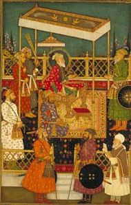 Aurangzeb seated on The Peacock Throne, receives his son Prince Mu'azzam  Image credit: http://en.wikipedia.org/wiki/Peacock_Throne