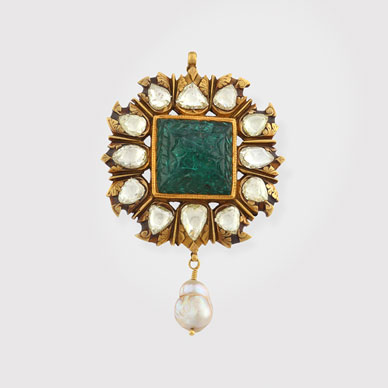 An Emerald and Diamond Pearl Pendant