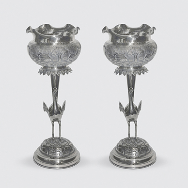 Bombay Silver Pair of Bird Vases c. 1920. http://www.saffronart.com/fixedjewelry/PieceDetails.aspx?iid=35950&a=