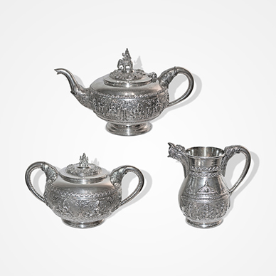 Bangalore Silver 'Swami-ware' Three Piece Tea-set by Krishniah Chetty c. 1900. http://www.saffronart.com/fixedjewelry/PieceDetails.aspx?iid=35977&a=