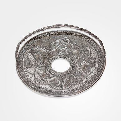 Lucknow Silver Swing-handle Basket in 'Hunting' Pattern c. 1890.  http://www.saffronart.com/fixedjewelry/PieceDetails.aspx?iid=35991&a=