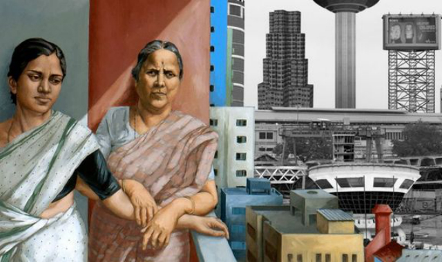 Detail from the film's poster with paintings by Sudhir Patwardhan (left) and Gigi Scaria (right) Image credit: http://in.blouinartinfo.com/news/story/910426/coming-soon-a-2-volume-film-on-contemporary-indian-art