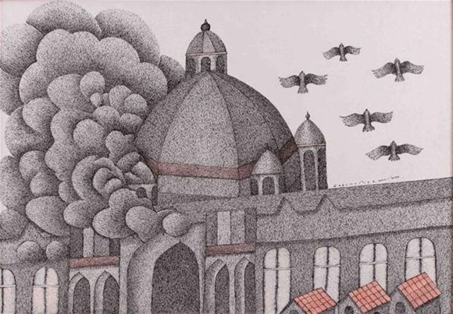 Venkat Raman Singh Shyam, Smoking Taj (2009), pen and acrylic on canvas, 99 x 69 cm. Must Art Gallery, New Delhi, Photo © Must Art Gallery, New Delhi, India Image Credit: http://www.ngcmagazine.ca/features/sakahan-photo-gallery/Venkat-Raman-Singh-Shyam-Smoking-Taj