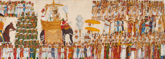 Detail of Religious procession. A scroll showing, About 1825-1830. Image Credit; http://www.vam.ac.uk/content/articles/m/maharaja-the-splendour-of-indias-royal-courts/