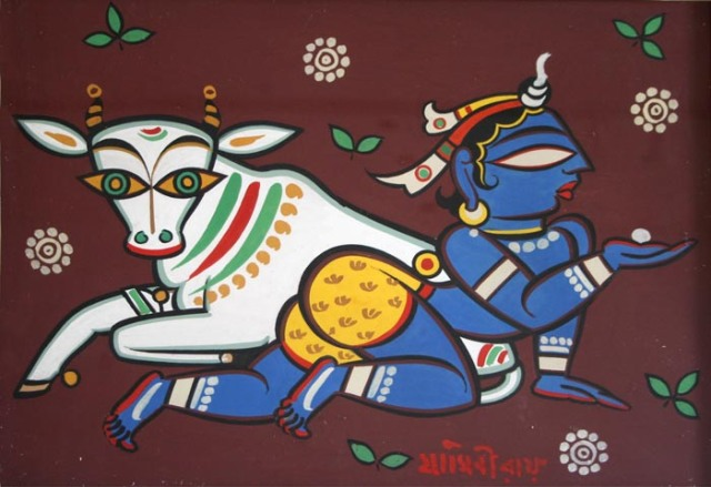 Krishna with Cow 2, Jamini Roy