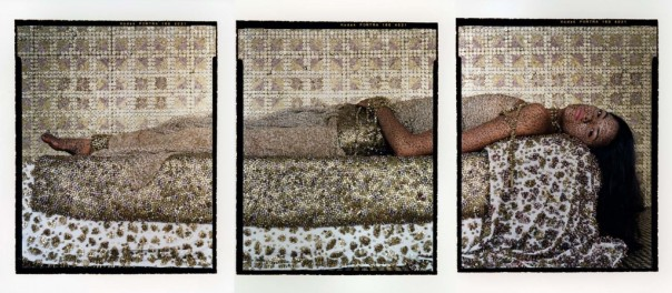 Bullet Revisited #3 Lalla Assia Essaydi, Bullet Revisited #3, 2012. Triptych, three chromogenic prints on aluminum. Courtesy of the artist, Miller Yezerski Gallery Boston, and Edwynn Houk Gallery NYC.