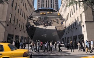 """Sky Mirror"" by Anish Kapoor at Rockefeller Center."