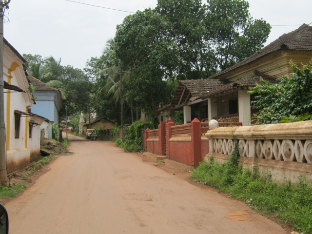 The narrow road across from Souza's house in Saligao, a road he would have walked on and the neighbourhood he would have known quite well.