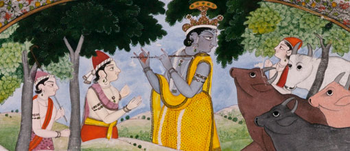 detail: India, The divine cowherd Krishna playing on his flute, 18th century, Kangra, Himachal Pradesh, India, opaque watercolour and gold on paper, 28.6 x 24.2 cm; Morgan Thomas Bequest Fund 1940, Art Gallery of South Australia.