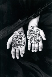 Shirin Neshat, Iranian, b. 1957. Stories of Martydom , 1994. Black and white RC print and ink