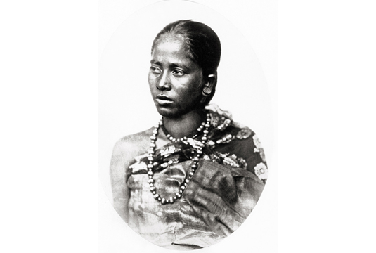 Member of the Moamuria or Muttuck Hill tribe from Assam, 1860. Image Credit: http://www.tasveerarts.com/group-shows/subjects-spaces/view-individual-images/?p=23