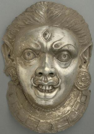 A Late Gupta Mask in Silver from Al Sabah, Kuwait.