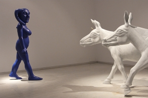 Photo Courtesy: Talwar Gallery    A Woman and Two Donkeys |Wood, Acrylic  and Brass|2013 by Navjot Altaf