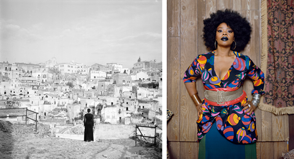 Left: The Edge of Time - Ancient Rome from Roaming, 2006, Carrie Mae Weems; Right:  Din Facing Forward, 2012, Mickalene Thomas. Image Credit: http://www.jenkinsjohnsongallery.com/exhibitions/13seven.sisters/13seven_PR.html