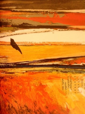 The Last Bird (detail), 2005, Sujata Bajaj. Image Credit: http://artradarjournal.com/2011/12/13/words-in-art-how-indian-born-sujata-bajaj-uses-sanskrit-on-canvas/