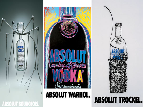 Louise Bourgeouis, Andy Warhol, Rosemarie Trockel for Absolut