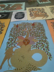 Gond Folk Art http://indianartscene.blogspot.in/2013/08/jangarh-singh-shyams-legacy-gond-art.html