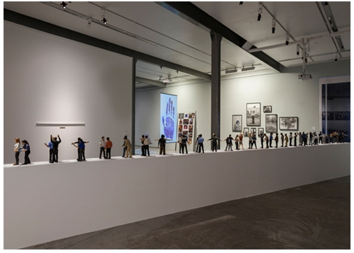 Jitish Kallat Circadian Rhyme, 2 & 3, 2012-2013 24 figures  (resin, paint, aluminium and steel) 50 x 180 x 15 in.