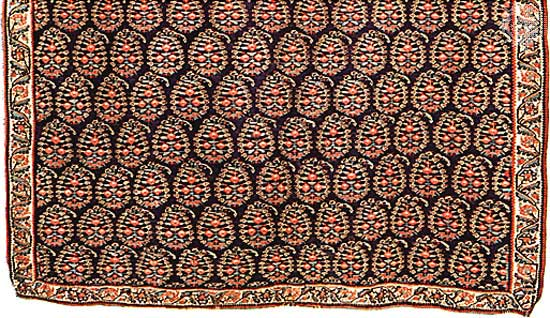 """This is a 19th century, boteh-motifed woollen kilim from Persia, now at V&A"" explains Carpet, seeing your flabbergasted face Image Credit: http://www.britannica.com/EBchecked/topic/452747/Persian-carpet"