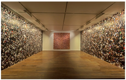 Installation of Rashid Rana's Crowd (2013) in Chemould Prescott Gallery, Offset print on wallpaper