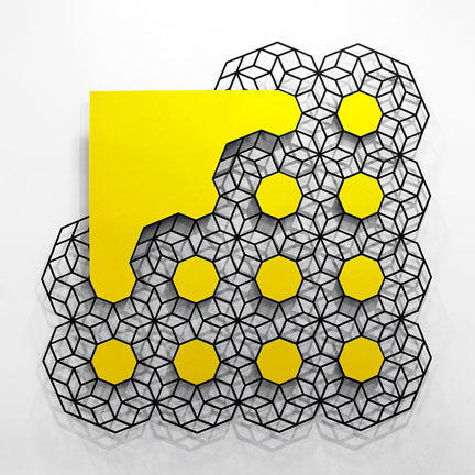 "Aakash Nihalani  Cloud (Yellow), 2012 Painted Stainless Steel  72"" x 72"" x .25"" (183 x 183 x .64 cms) http://www.naturemorte.com/exhibitions/2013-12-07_parallel-postulates/"