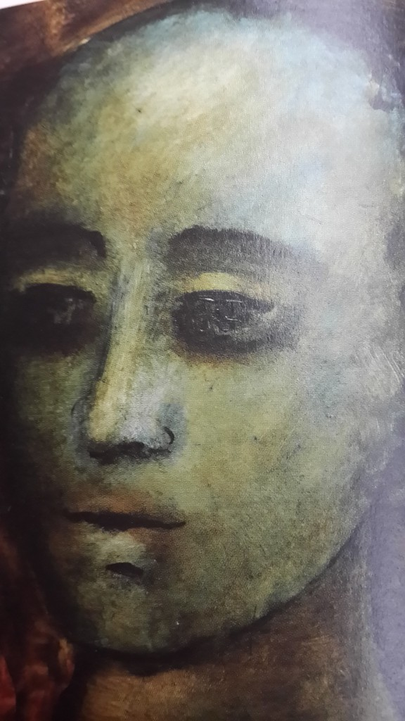 "This patina Head on masonite from 2004 calls forth ghosts of the past. Source: ""Anjolie ElaMenon: Through the Patina"", New Delhi: Vadehra Art Gallery, 2010, p92"