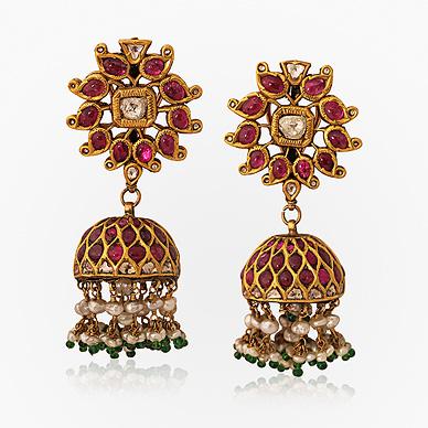 A gemset Jhumki or earrings