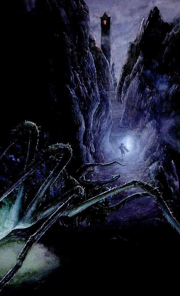 "Shelob sneaking up on Frodo in Cirith Ungol Recto, p.752, ""Shelob's Lair"", The Two Towers"