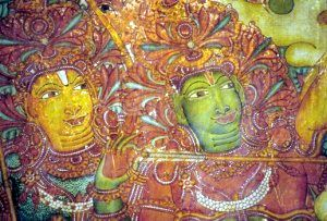 Detail of the Ramayana frieze, Mattancheri palace in Cochin, mid-16th century. Rama and Lakshmana on the battlefield. Source: http://world-citizen-trail.net/a-journey-through-a-palimpsest-part-i-dutch-palace-mattancherry-kerala/