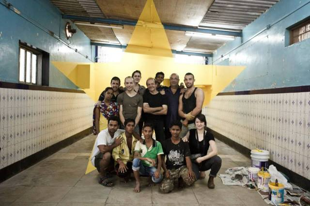 Georges Rousse and his team from the Apnalaya center Photo courtesy of Apnalaya