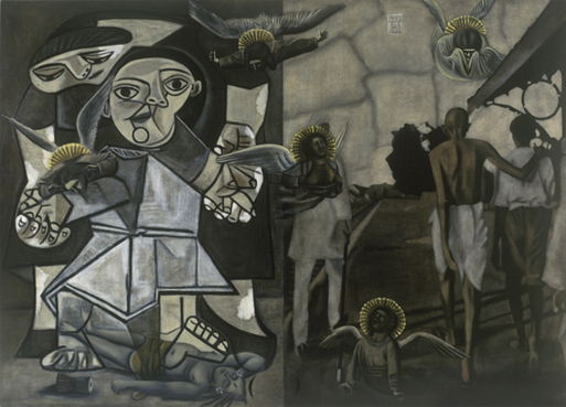 Atul Dodiya's 'Lamentation' Source: http://www.gallerychemould.com/artists-works/atul-dodiya-home/atul-dodiya-aw1835.html