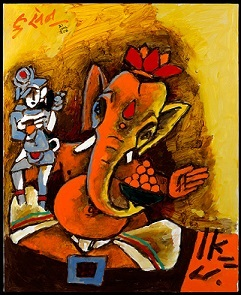 M.F. Husain, Ganesha, 2008. Courtesy of Usha Mittal,  © Victoria and Albert Museum, London