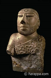 Priest King with Trefoil Drape, Mohenjo-daro, Indus Valley Civilization (3300-1300 B.C).  National Museum of Pakistan,  Karachi. PhotoCourtesy: http://www.harappa.com/indus/41.html
