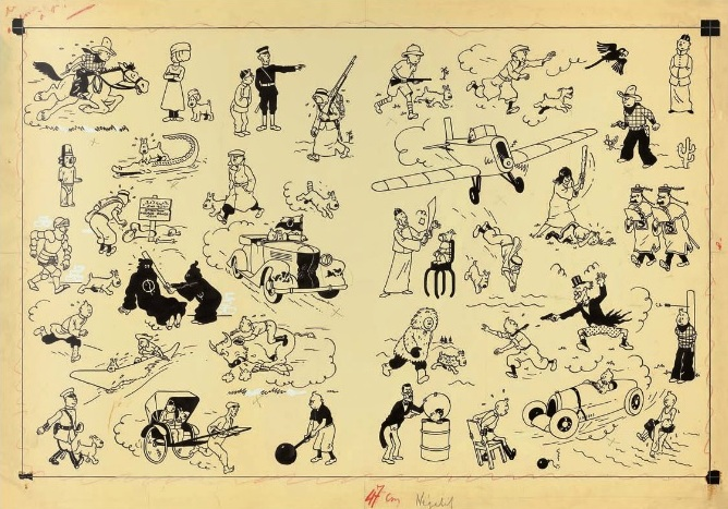 Herge's original drawing showing some of the easily recognisable panels from the comics Image Credit: Artcurial.com