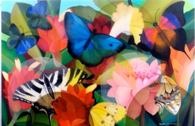 From the Grosvenor Gallery Exhibition of Senaka Senanayake's works Butterflies, 2014, Oil on canvas, 122 x 182.9cm. (48 x 72in.) Source: Grosvenor Gallery Website